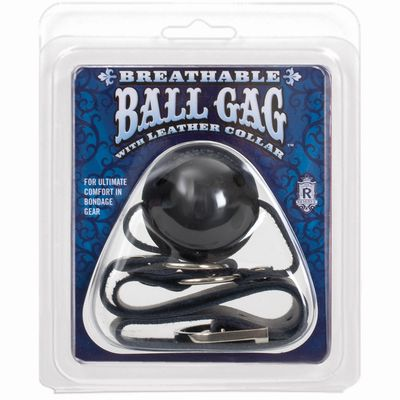 Чёрный кожаный кляп с шаром