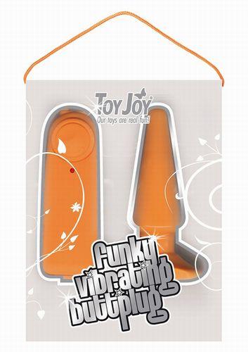 Оранжевая анальная пробка Funky Vibrating - 10,5 с
