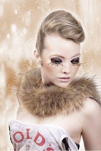 Коричнево-золотые ресницы-перья