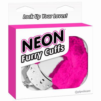 Розовые неоновые наручники с мехом