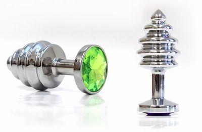 Серебристая винтовая анальная пробка с светло-зелё