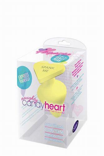 Жёлтая анальная пробка с сердечком в основании NAUGHTY CANDY HEART SPANK ME